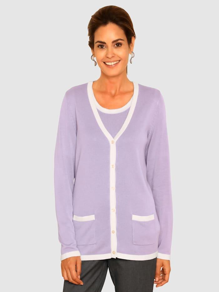 Paola Cardigansett med kontrastkanter, Lavendel/Hvit