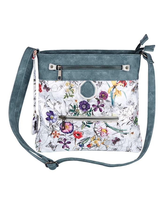 Rieker Schoudertas met bloemenprint en glanseffect, multicolor/gebloemd/jeansblauw