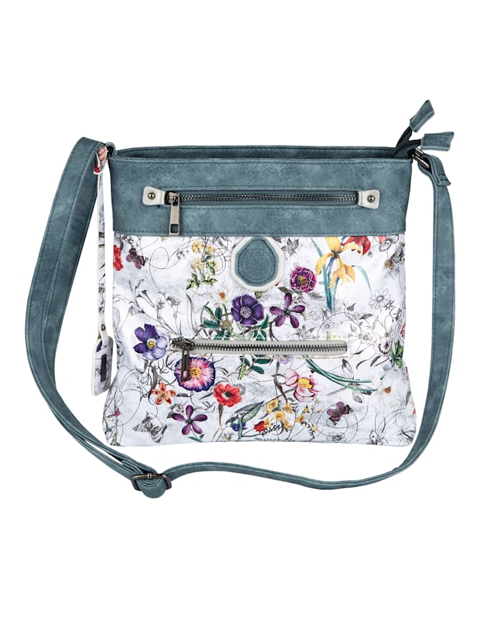 Rieker Shoulder bag with a floral print and shimmering finish, Multi/Jeans blue