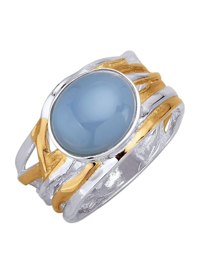 Diemer Farbstein Damenring mit 1 Opal-Cabochon, Blau