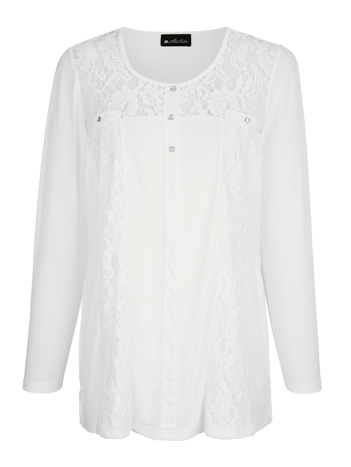 m. collection Shirt met decoratief kant, Offwhite