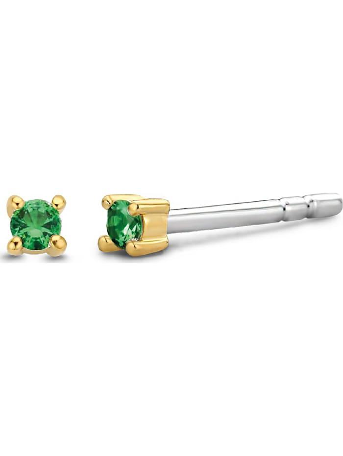 Ti Sento Milano Ti Sento - Milano Damen-Ohrstecker 925er Silber Farbstein, gold/grün