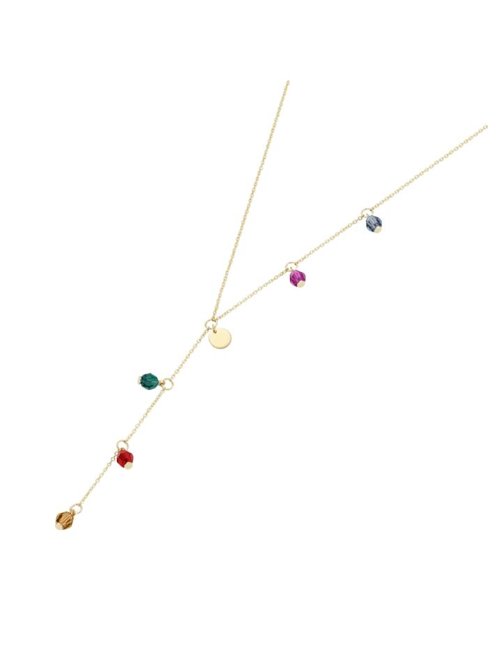 Luigi Merano Collier Y-Collier, farbige Swarovski-Kugeln + 1 Plättchen, Gold 375, Gold