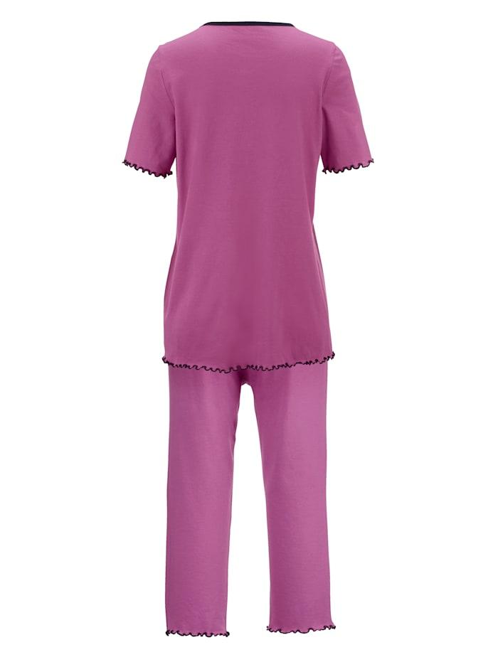Schlafanzüge mit dekorativer Kontrastpaspelierung 2er Pack