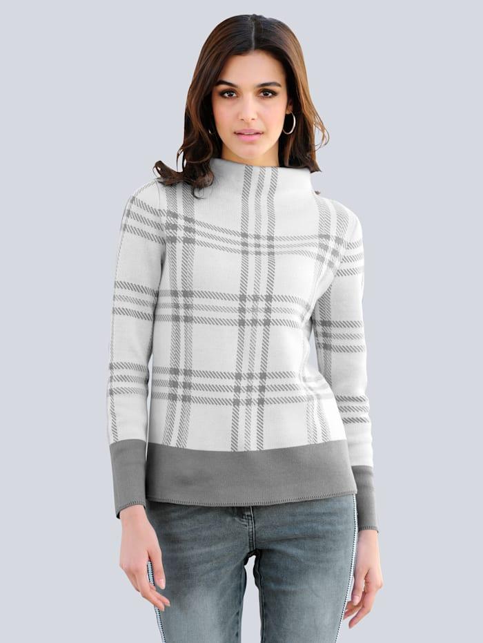 Alba Moda Pullover mit Glanzgarn, Off-white/Grau/Silberfarben