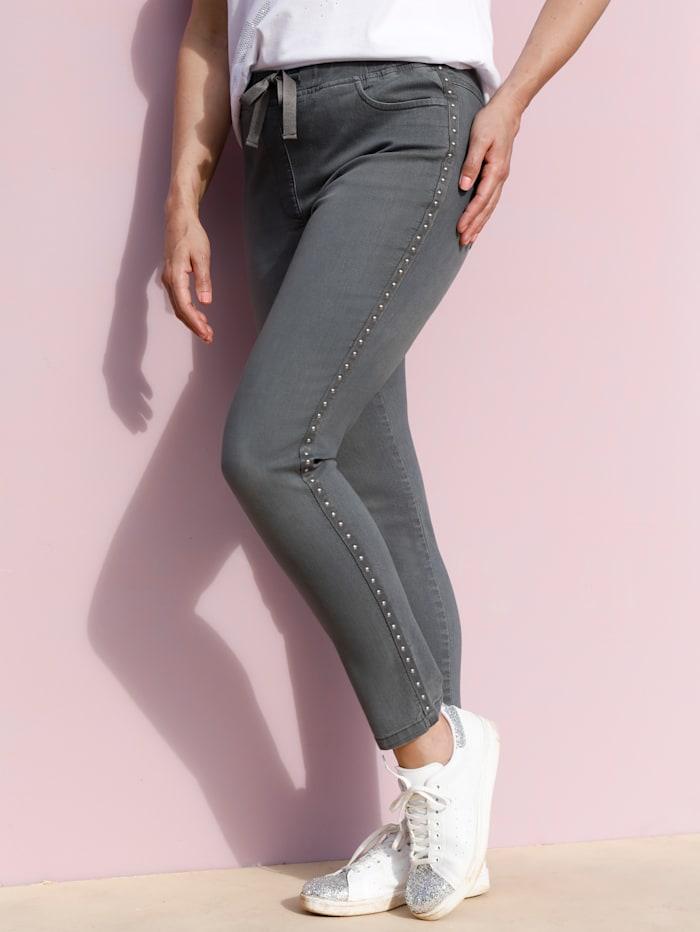 MIAMODA Jeggings mit Nietenband seitlich, Grey