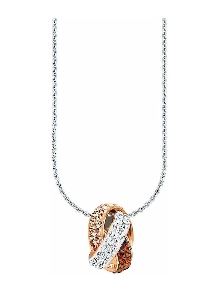 amor Kette mit Anhänger für Damen, Sterling Silber 925, Kristallglas Fantasie, Apricot