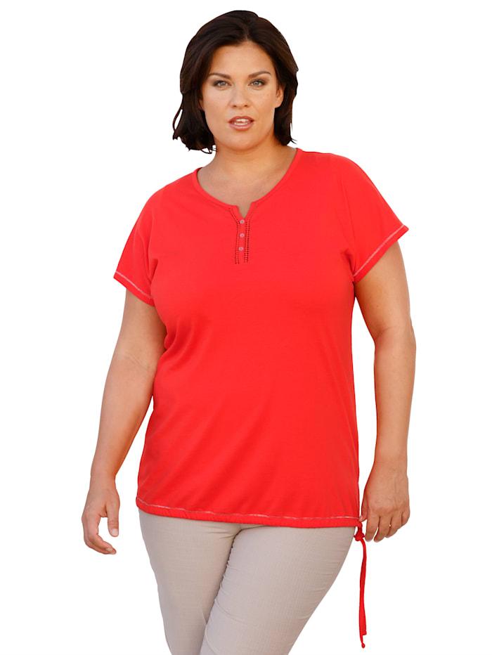 m. collection Shirt mit Häkelspitze am Ausschnitt, Rot