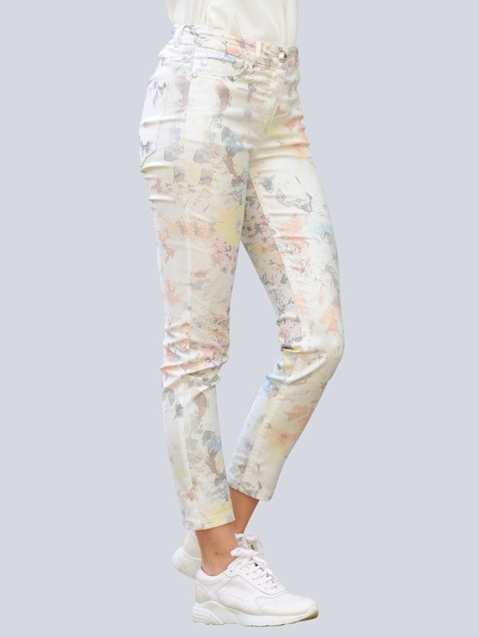 Alba Moda Pantalon à imprimé exclusif Alba Moda, Blanc cassé/Pêche/Jaune/Beige