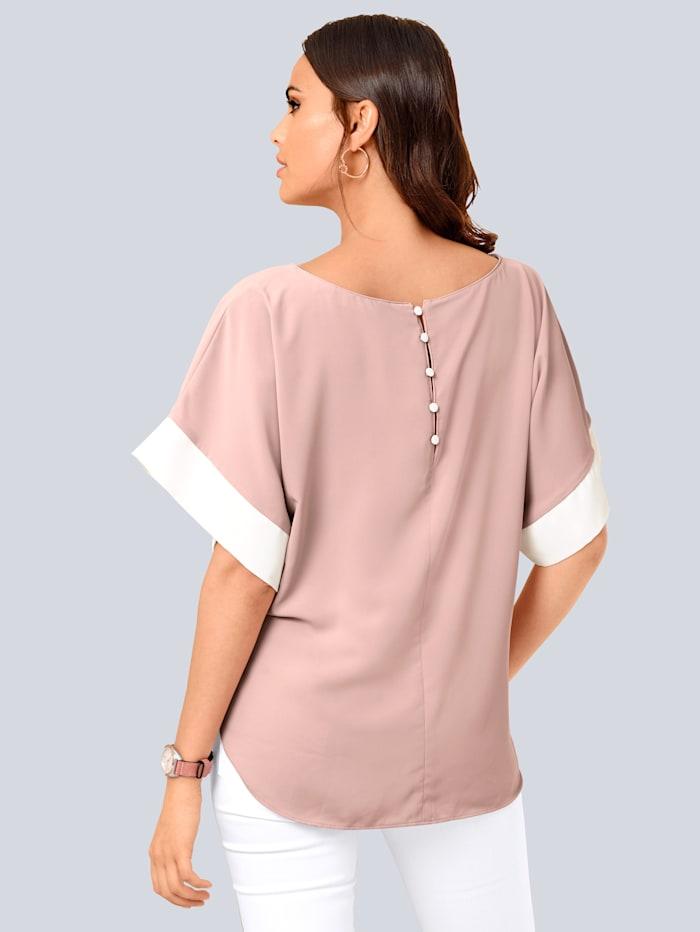 Bluse mit kontrastfarbigen Blenden