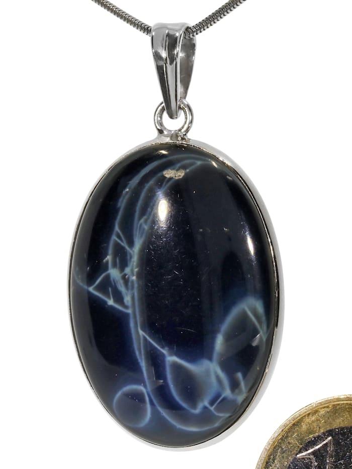 1001 Diamonds Spiderweb Obsidian Anhänger 925 Silber, bunt