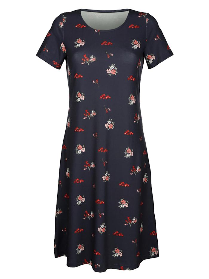 Žerzej šaty s módním květinovým potiskem