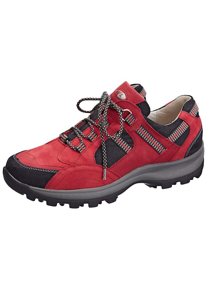Waldläufer Šněrovací obuv v harmonickém mixu materiálů, Červená