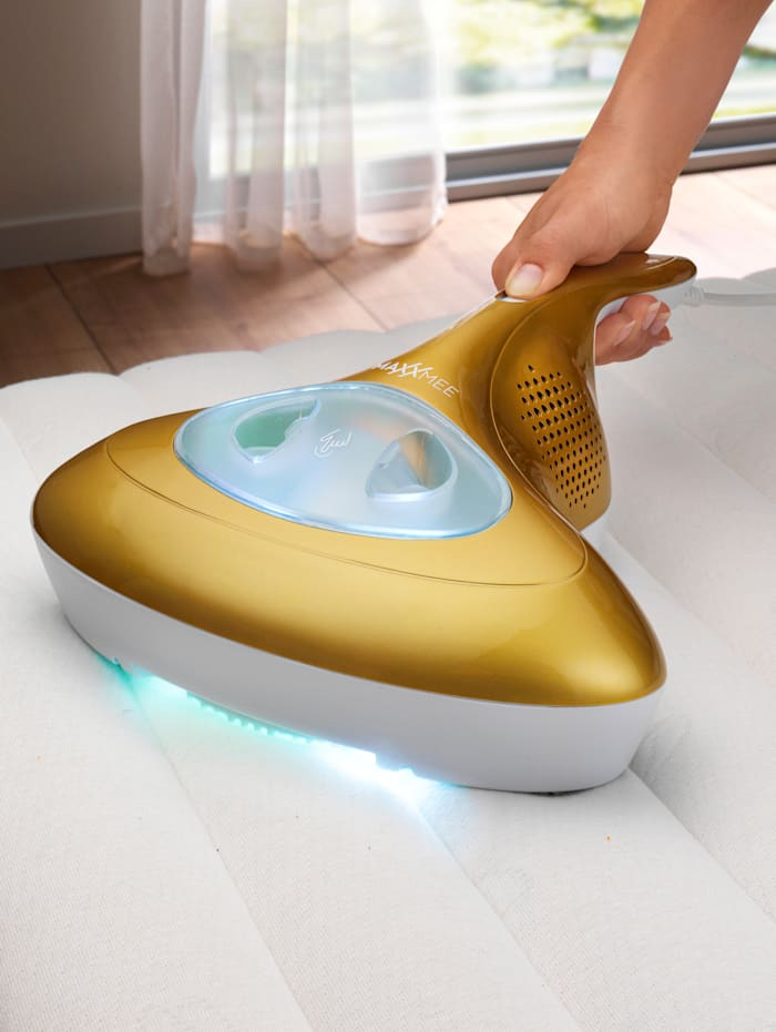 MAXXMEE Aspirateur à main avec rayonnement UV-C anti-acariens, Coloris or/blanc
