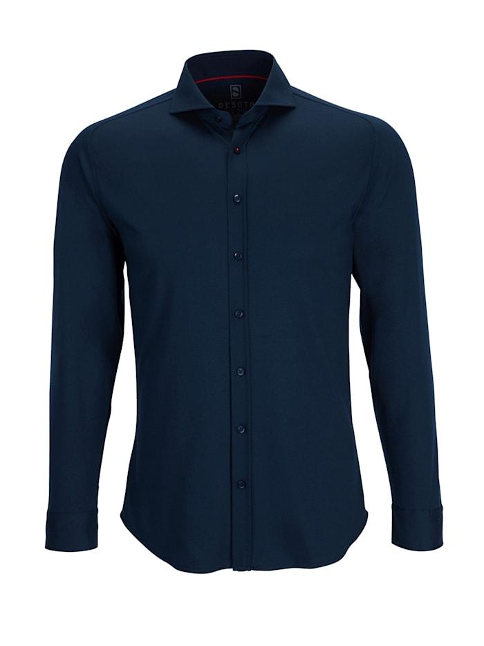 Desoto Jerseyhemd - Bügelfrei, dark navy uni