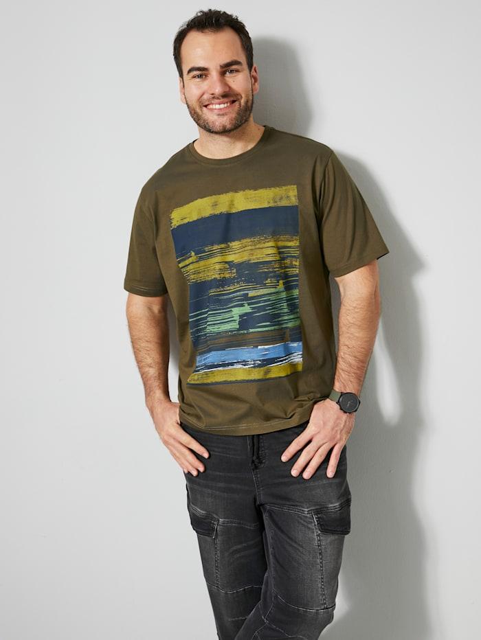 Men Plus T-Shirt aus reiner Baumwolle, Oliv