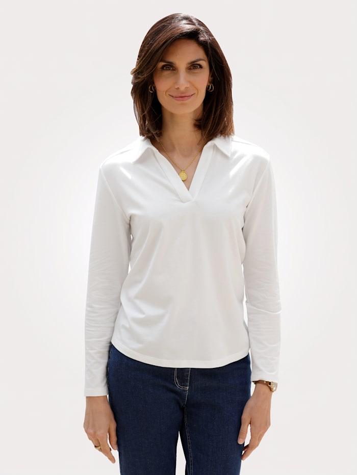 MONA Shirt met polokraag, Ecru
