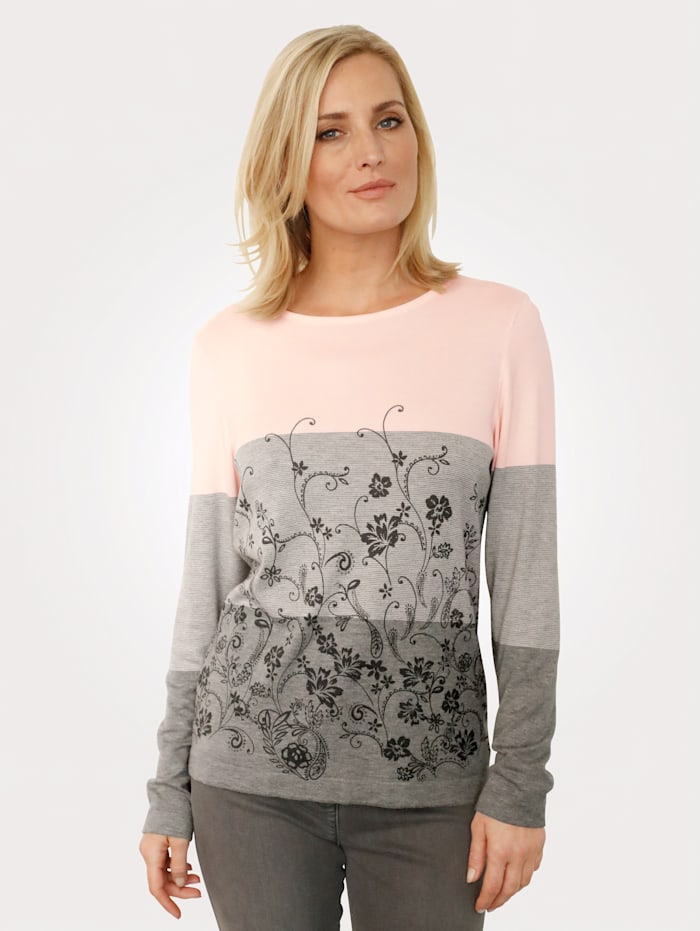 MONA Jumper with a floral print, Grey/Rosé