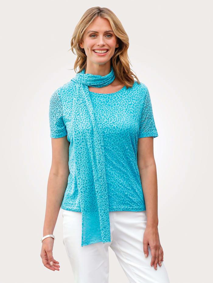 MONA Shirt met sjaal, Turquoise