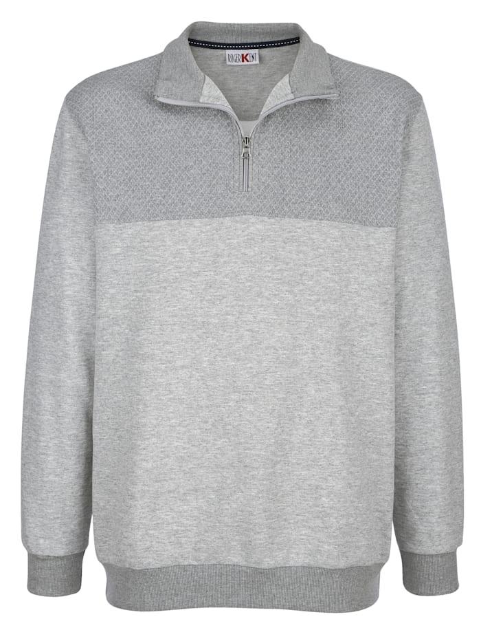 Roger Kent Sweat-shirt en maille chinée, Gris argenté