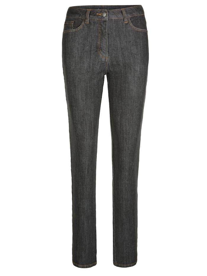 Jeans mit Steppung, Glanzgarn und Pailetten