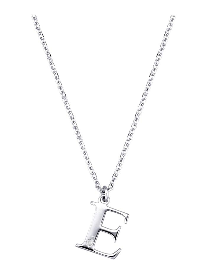 Collier Letter E met diamant, Zilverkleur