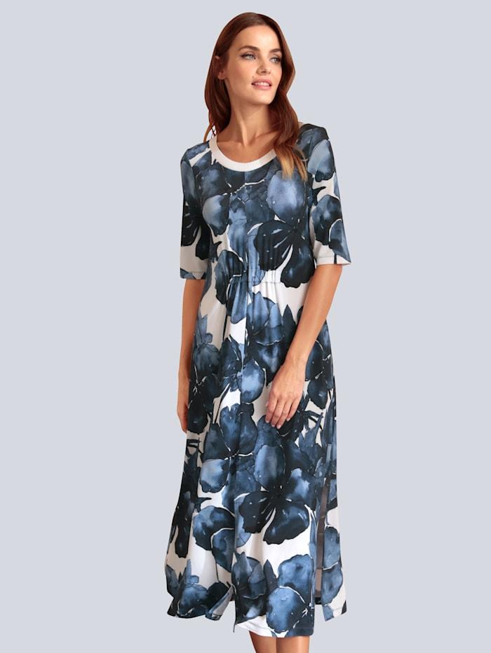 MARGITTES Kleid im farbharmonischem Blumdendruck, Marineblau
