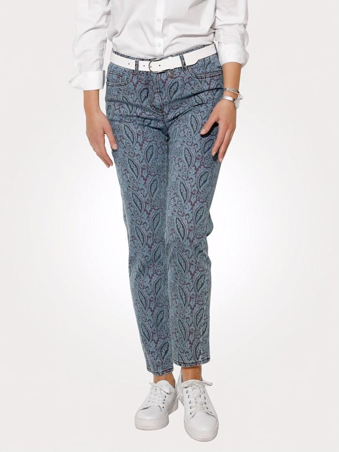 MONA Jeans with a paisley print, Light Blue/Bordeaux