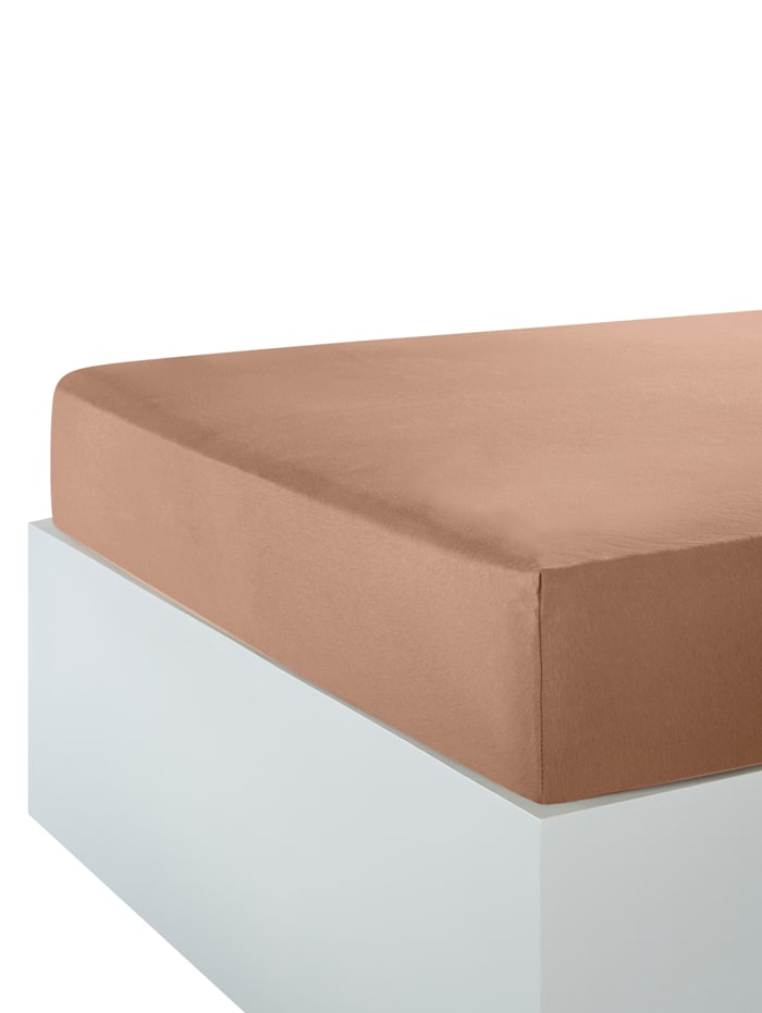 Webschatz Dra på-lakan av jersey, brun