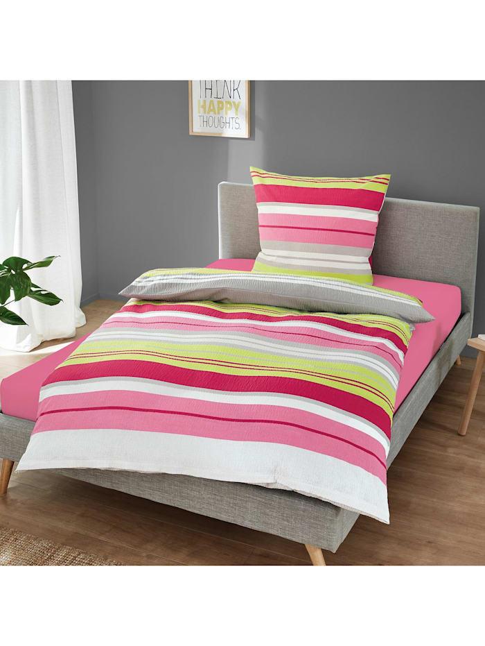 Traumschlaf Seersucker Bettwäsche Streifen pink, pink
