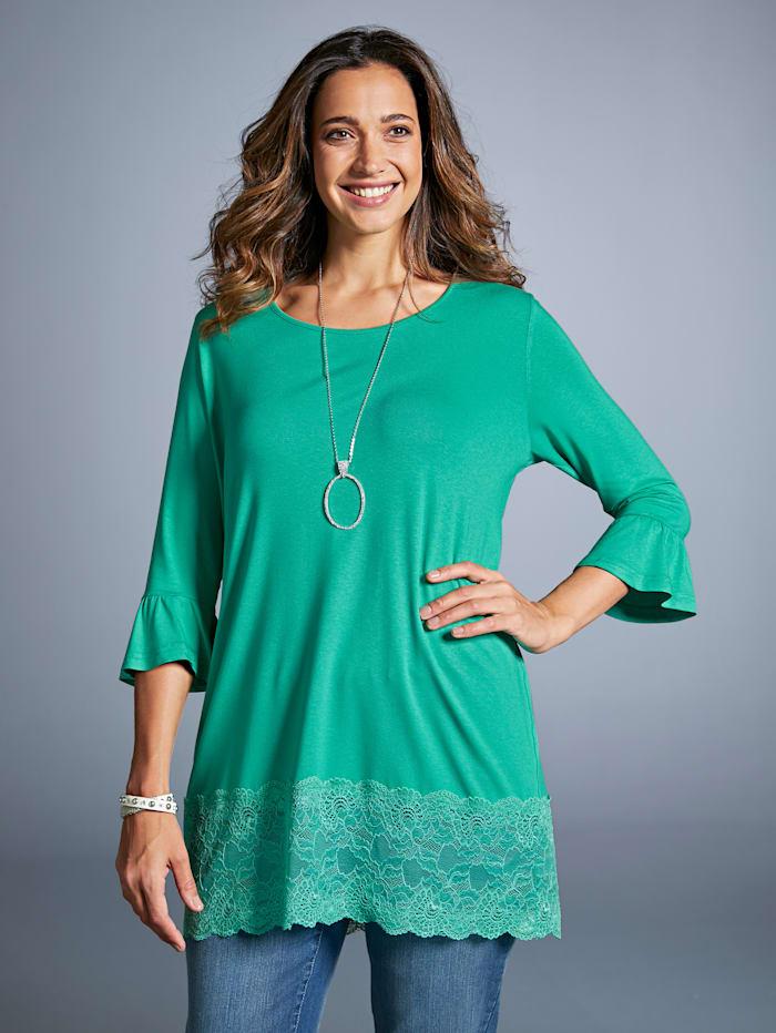 MIAMODA Longshirt mit elastischer Spitze am Saum, Grün