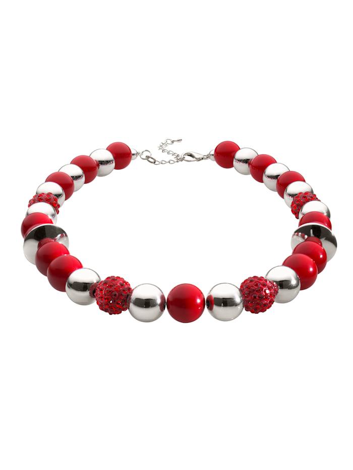 Halskette mit Kugeln, Rot
