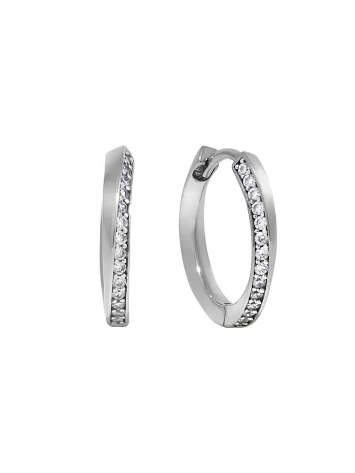 ZEEme Creolen 925/- Sterling Silber Zirkonia weiß 1,8cm glänzend, weiß