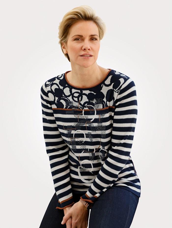 Rabe Pullover mit grafischem Jacquardmix, Marineblau/Braun/Weiß