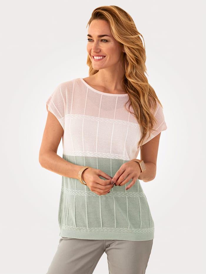 MONA Pullover in feinem Ajour- Strick, Rosé/Ecru/Salbeigrün
