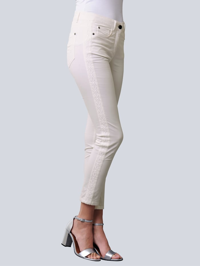 Alba Moda Hose mit seitlich eingesetztem Galon, Off-white