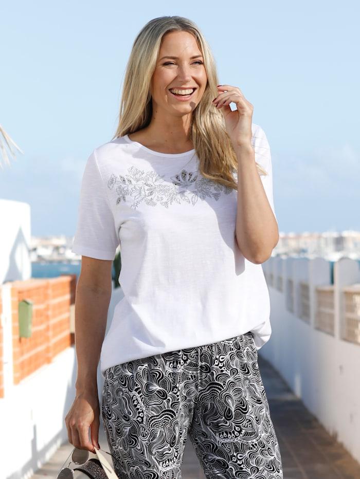 MIAMODA Shirt met zilverkleurig borduursel voor, Wit