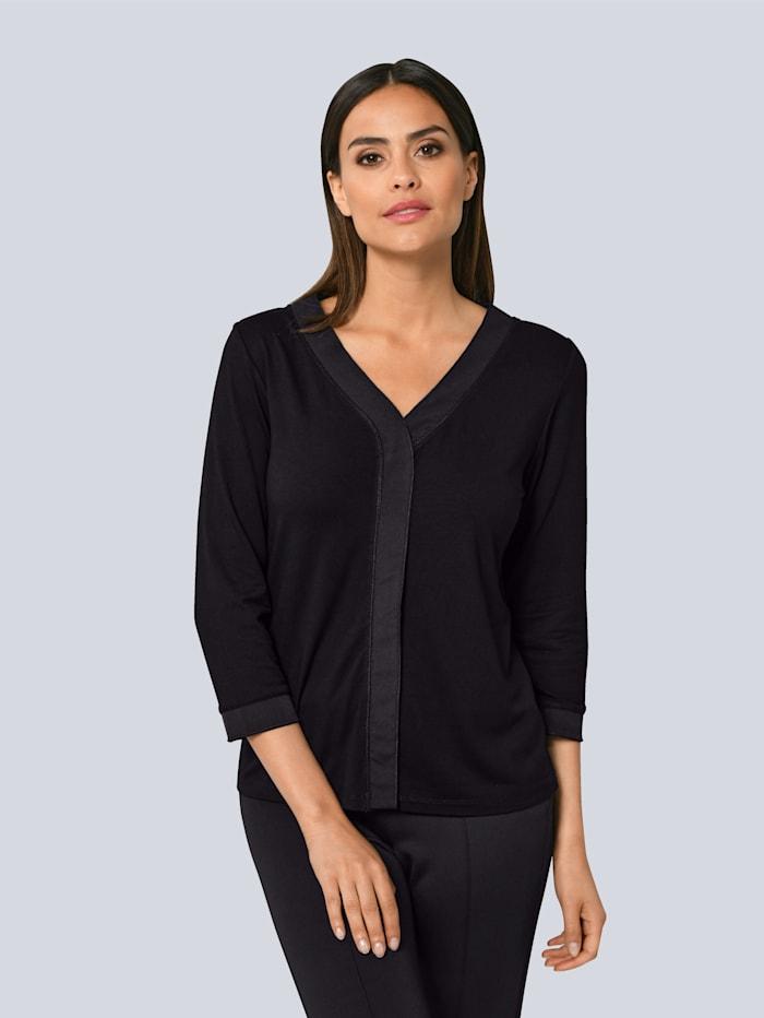 Alba Moda Shirt mit Faltendetail in der vorderen Mitte, Schwarz