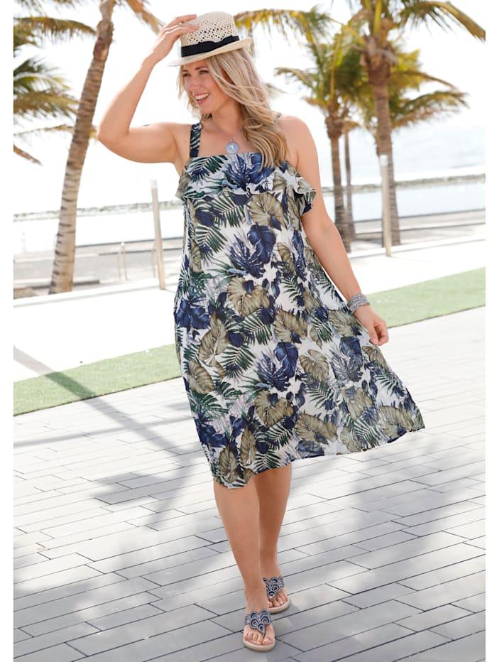 MIAMODA Kleid mit sommerlichem Blumendruck, Blau/Weiß