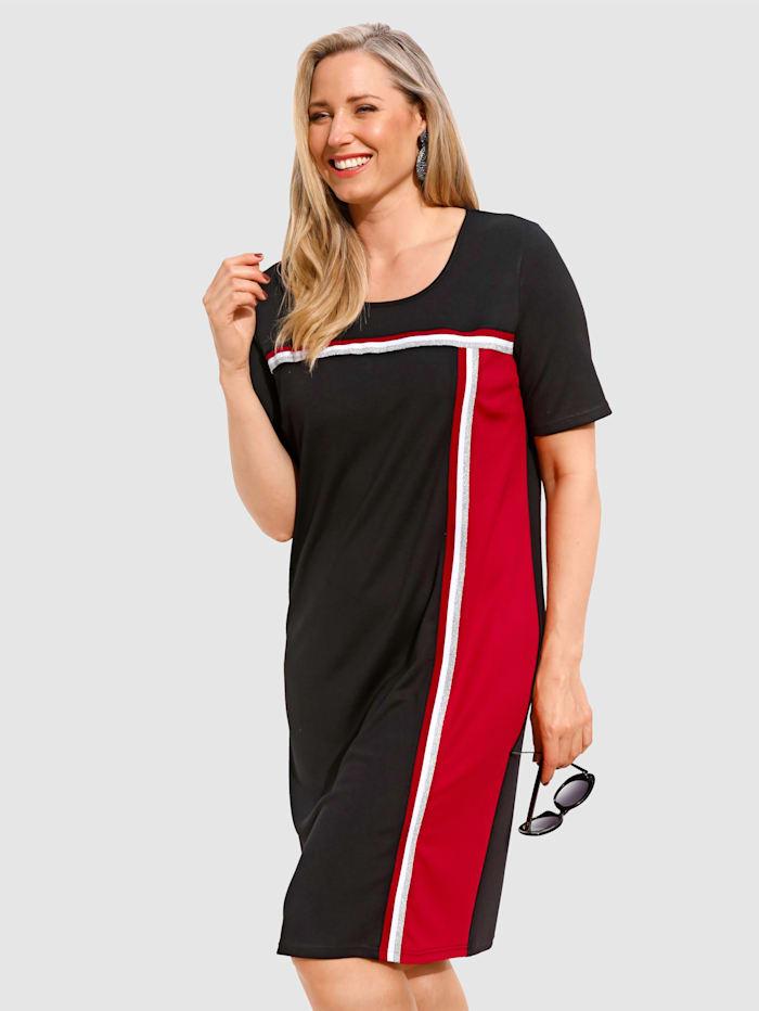 MIAMODA Kleid mit streckendem Streifenbesatz, Schwarz/Rot