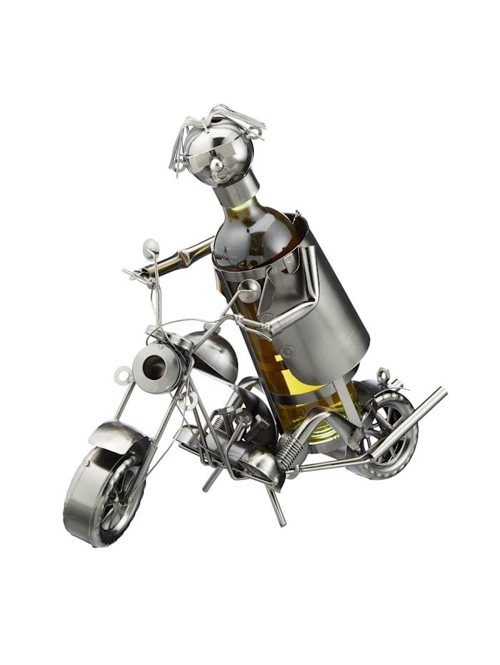 HTI-Living Weinflaschenhalter Motorrad, Silber