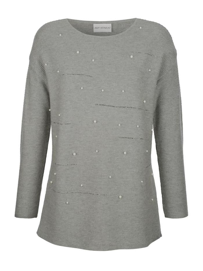 Pullover mit Perlen- und Strassteindeko