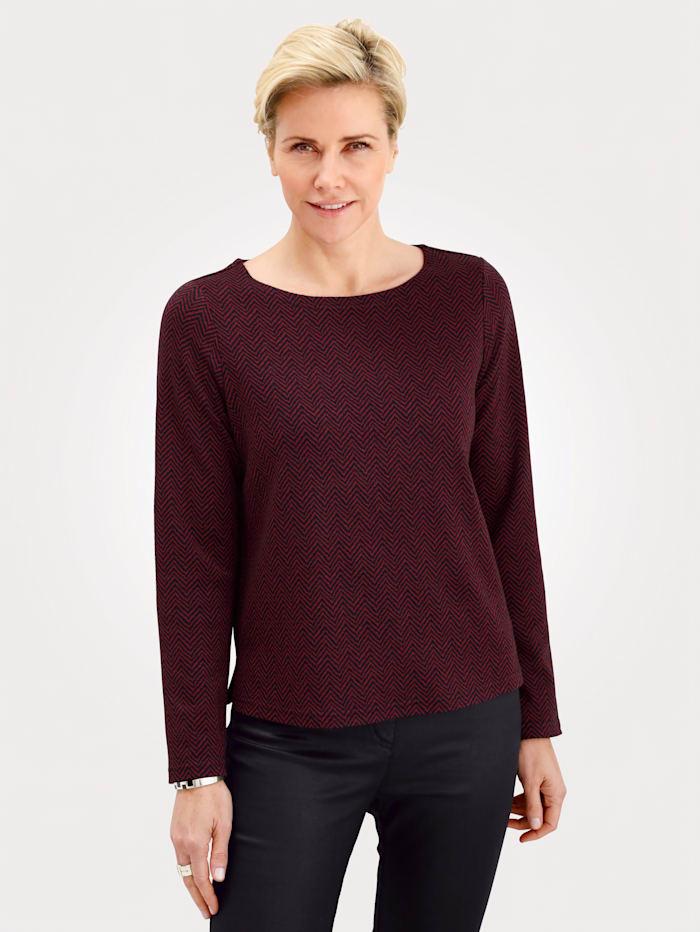 MONA Sweatshirt met visgraatmotief, Zwart/Rood
