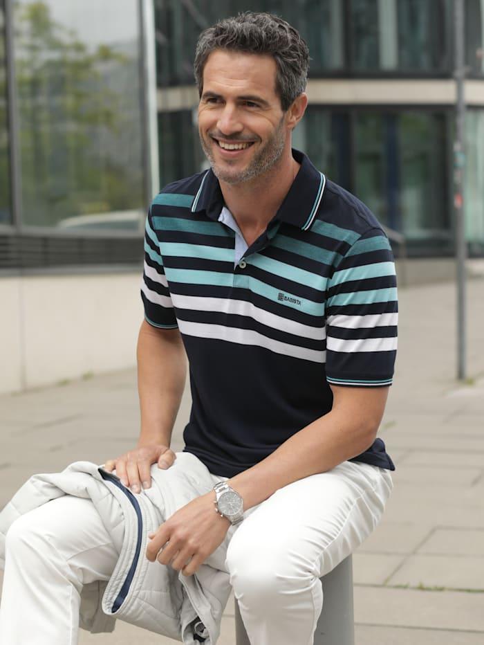 BABISTA Poloshirt in luftiger Piqué-Qualität, Marineblau/Türkis