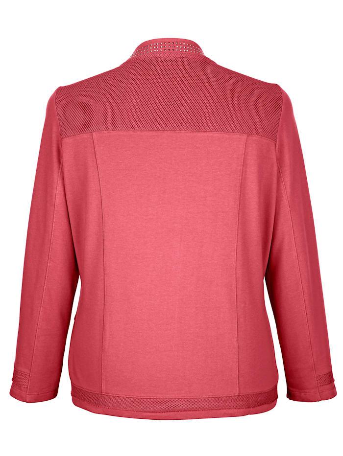 Sweatshirtjacka med trendiga meshinfällningar