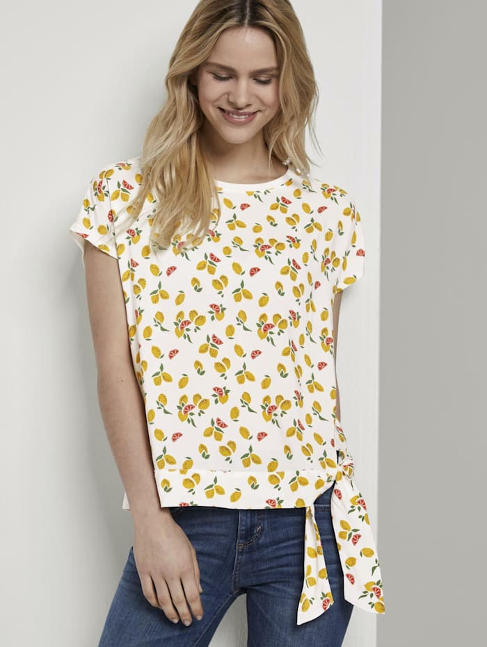 Tom Tailor T-Shirt mit Knotendetail im Material-Mix, offwhite fruit minimal