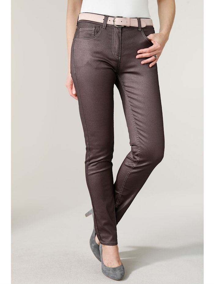 MONA Trousers with a subtle shimmer, Berry