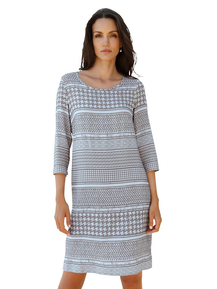 AMY VERMONT Kleid mit grafischem Muster allover, Hellblau/Taupe