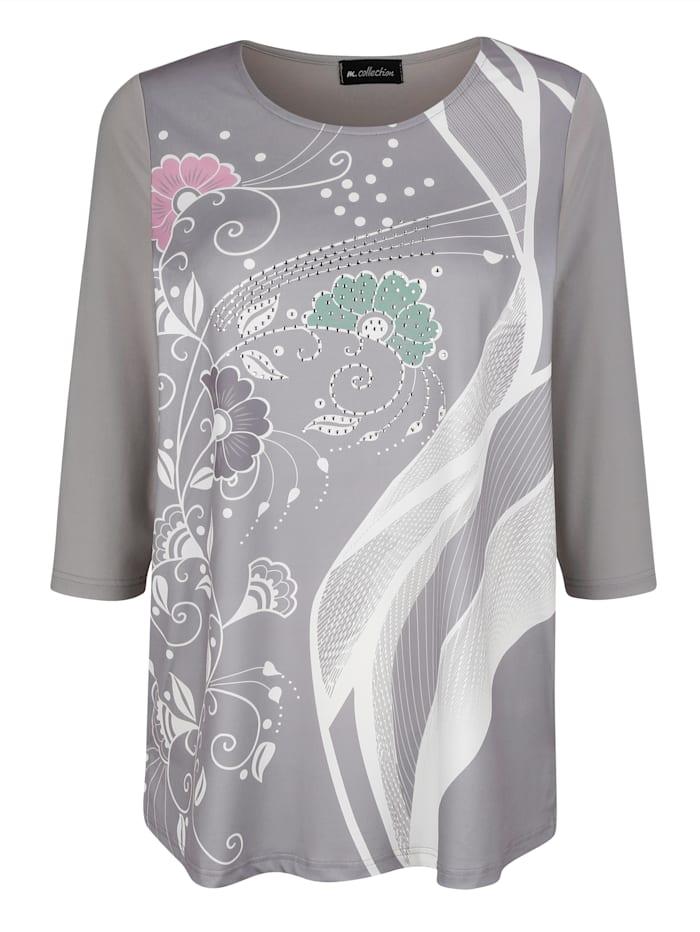 m. collection Shirt mit Strasssteinen, Grau/Weiß/Rosé