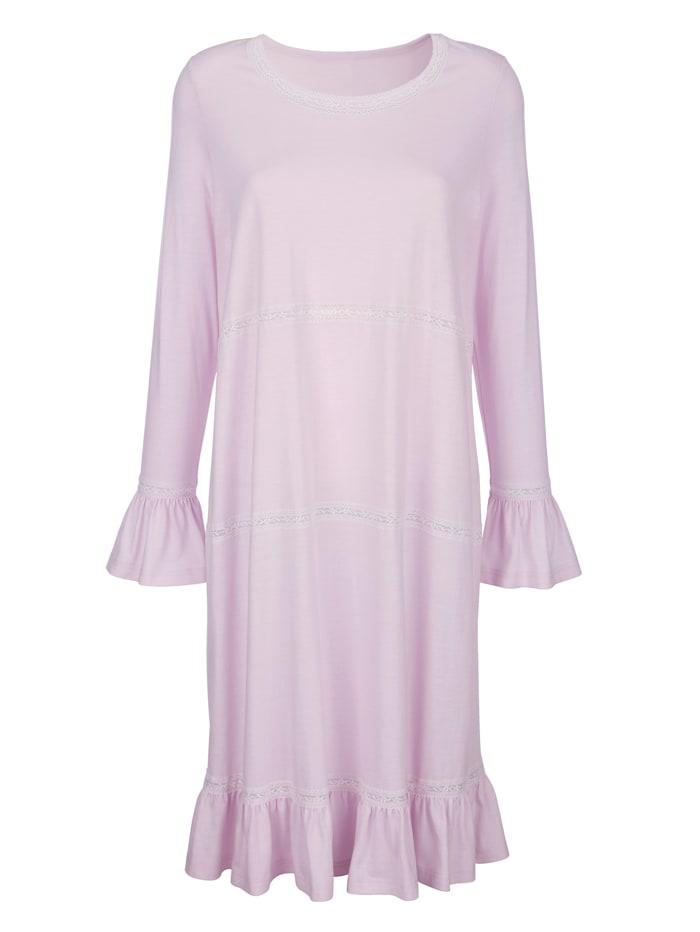 Simone Nachthemd met romantische volants en kant, Lichtroze